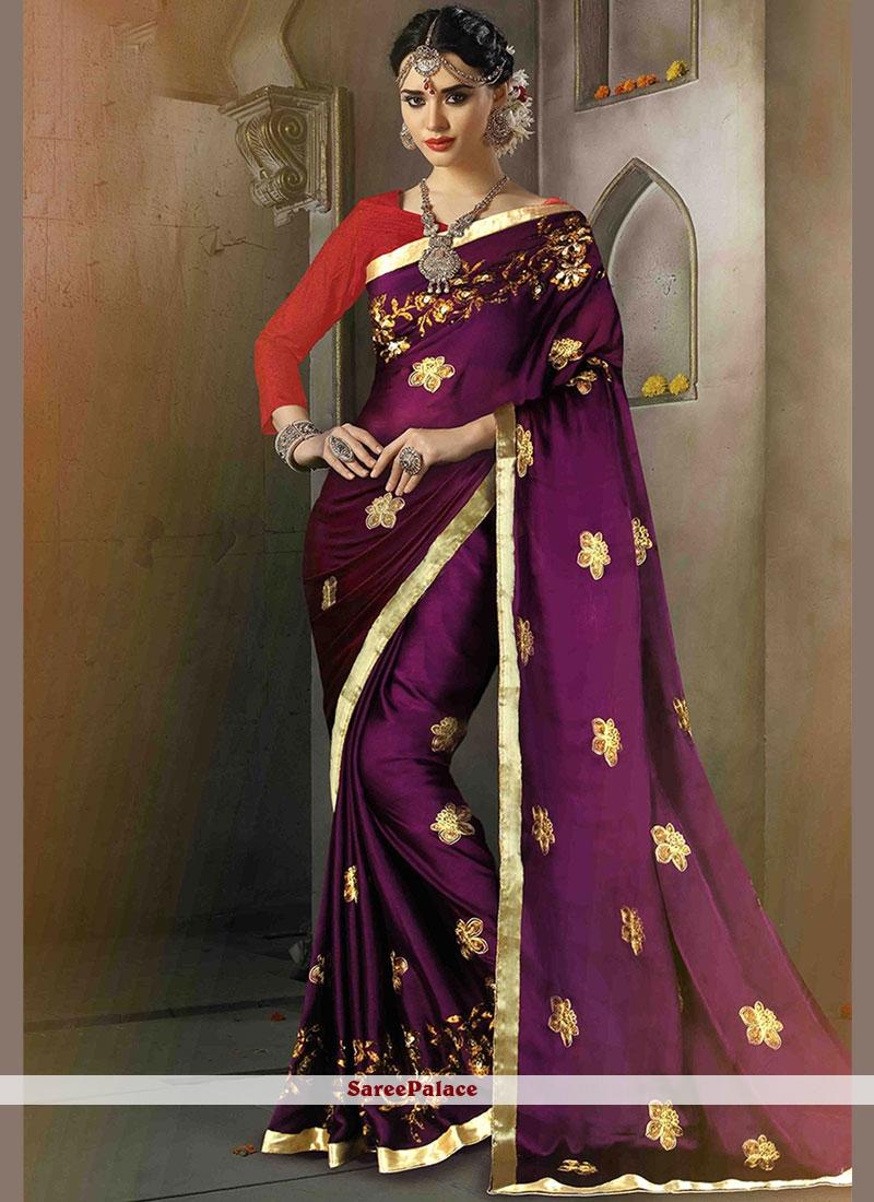Purple Satin Silk Designer Traditional Saree