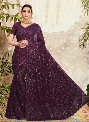 Purple Sequins Faux Georgette Designer Saree
