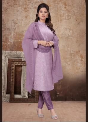 Lavender Sequins Silk Designer Salwar Suit