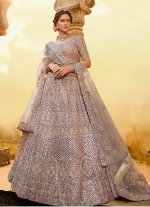 Purple Sequins Wedding A Line Lehenga Choli