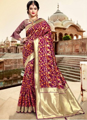 Purple Silk Traditional Saree