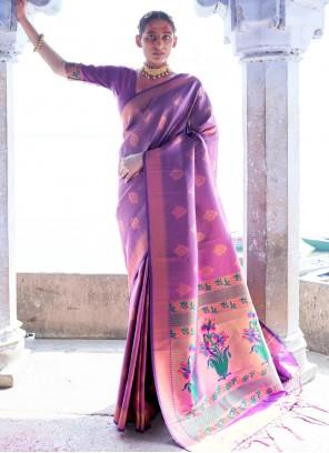 Purple Silk Weaving Designer Saree