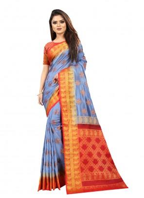 Lavender Silk Weaving Designer Saree