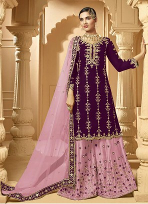 Purple Stone Designer Palazzo Salwar Suit