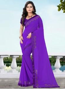 Purple Stone Work Faux Georgette Classic Designer Saree