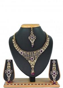 Purple Stone Work Necklace Set