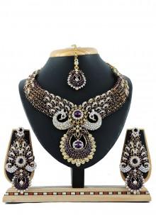 Purple Stone Work Reception Necklace Set
