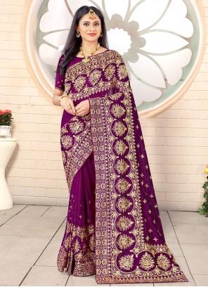 Purple Stone Work Vichitra Silk Traditional Designer Saree