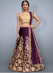 Purple Velvet Lehenga Choli