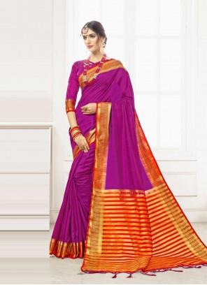 Purple Weaving Art Silk Designer Traditional Saree