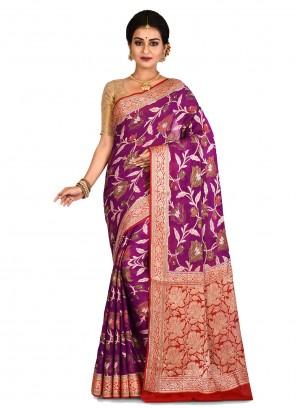 Purple Weaving Banarasi Silk Classic Saree