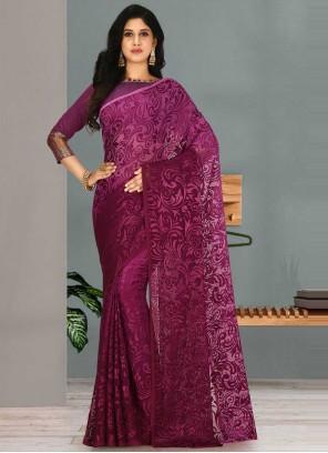 Purple Weaving Ceremonial Shaded Saree