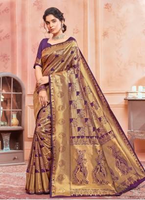 Purple Weaving Designer Traditional Saree