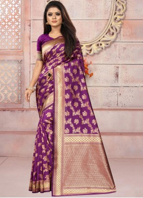 Purple Weaving Mehndi Casual Saree