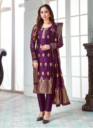 Purple Weaving Pant Style Suit
