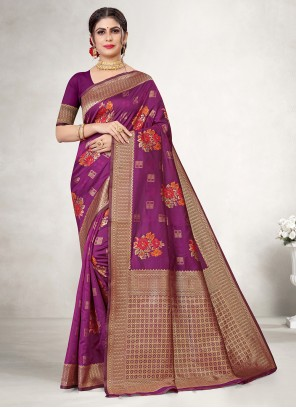 Purple Embroidered Weaving Silk Saree