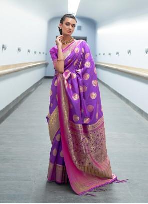Purple Weaving Traditional Designer Saree