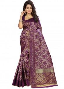 Purple Weaving Traditional Saree