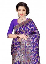 Purple Weaving Work Banarasi Silk Classic Designer Saree