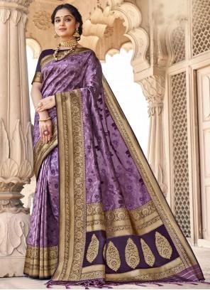 Purple Woven Classic Designer Saree