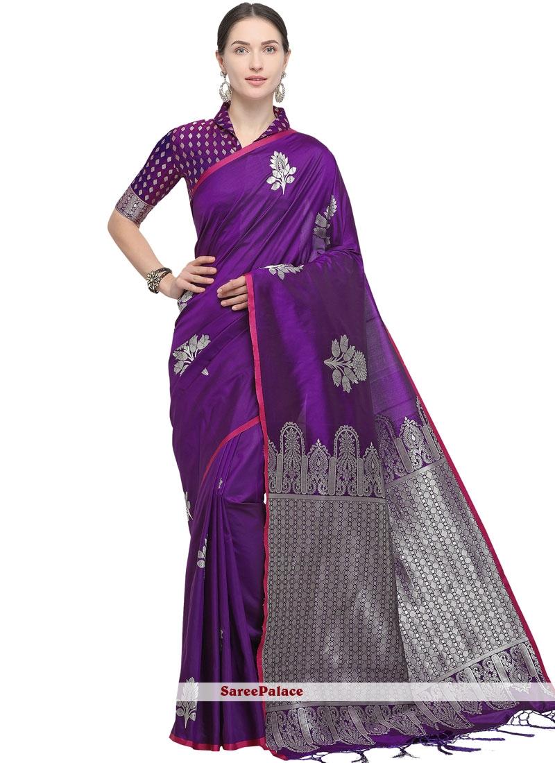 Purple Woven Designer Traditional Saree
