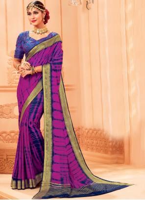 Purple Woven Trendy Saree
