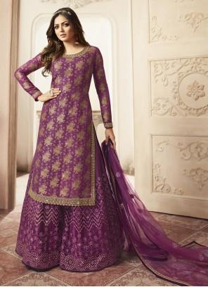 Purple Zari Wedding Designer Palazzo Salwar Suit