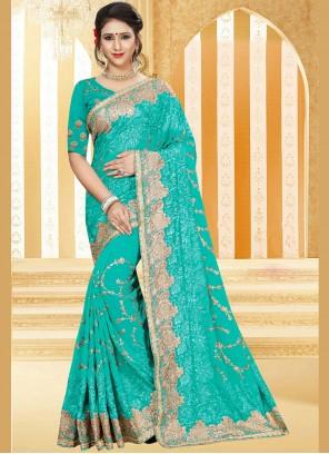 Radiant Blue Stone Work Traditional  Saree