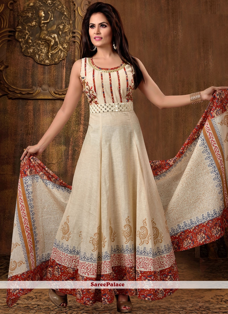58db8373ef Buy Radiant Chanderi Cotton Beige Embroidered Work Readymade Anarkali Suit  Online