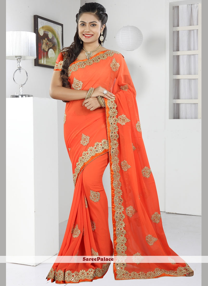 Radiant Faux Chiffon Lace Work Trendy Saree