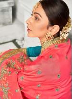 Rakul Preet Singh Art Silk Embroidered Pink Bollywood Saree