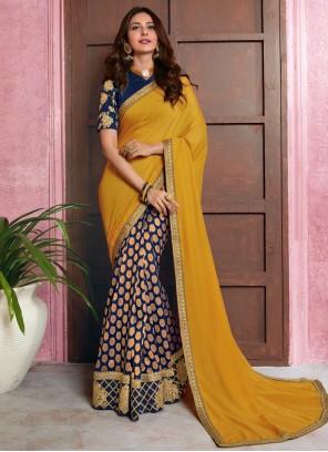 Rakul Preet Singh Blue and Mustard Designer Half N Half Saree