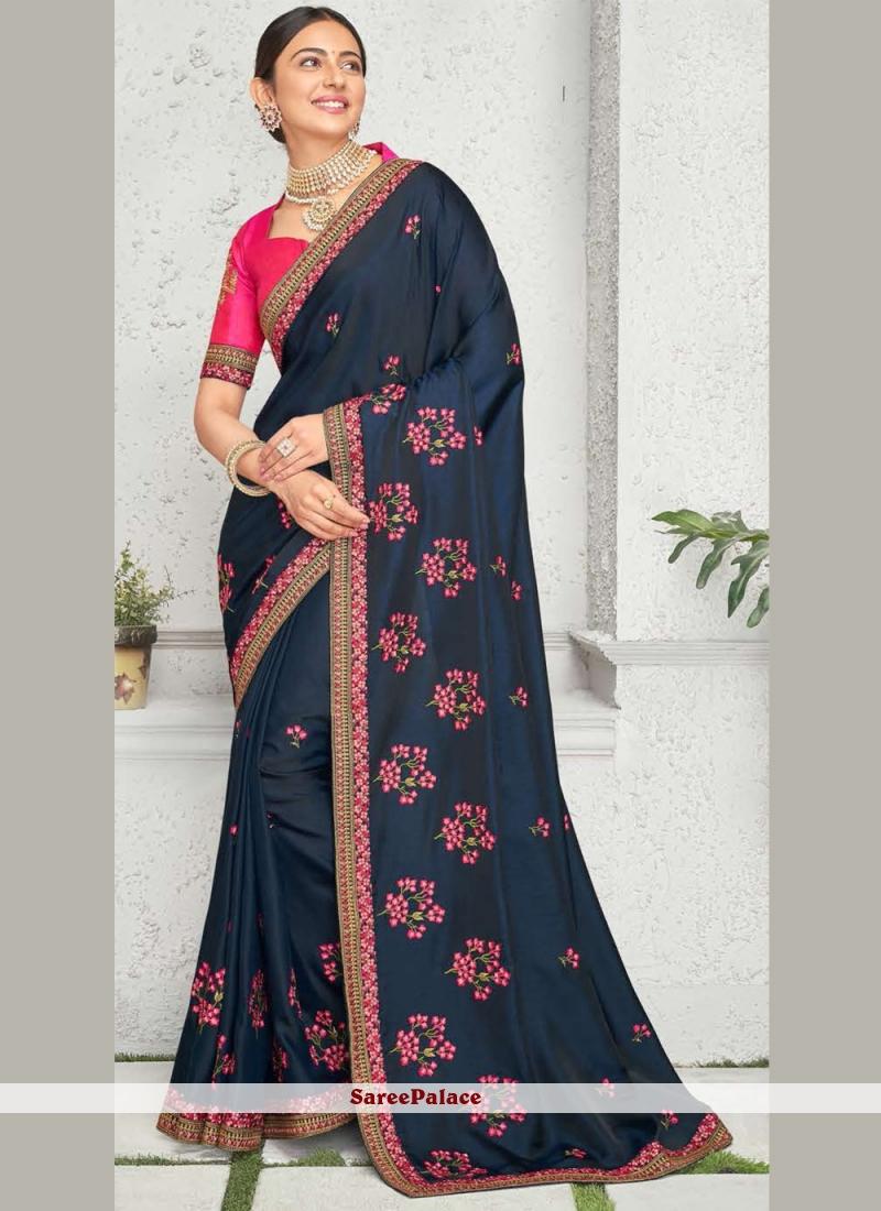 Rakul Preet Singh Navy Blue Embroidered Designer Saree