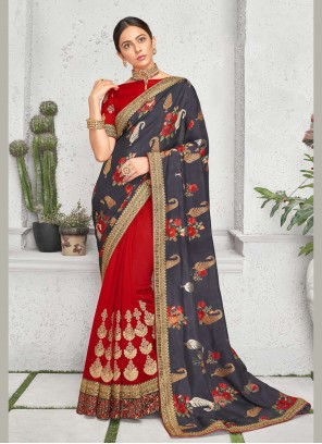 Rakul Preet Singh Embroidered Multi Colour Art Silk Bollywood Saree