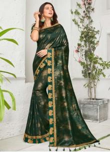 Rakul Preet Singh Green Chinon Embroidered Trendy Saree