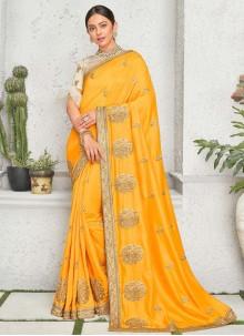 Rakul Preet Singh Yellow Art Silk Embroidered Contemporary Saree