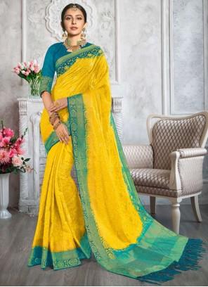 Rakul Preet Singh Yellow Cotton Classic Designer Saree