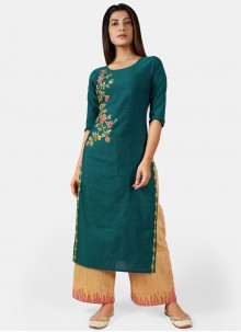 Rama Embroidered Cotton Party Wear Kurti