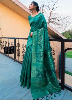 Rama Fancy Tussar Silk Traditional Designer Saree