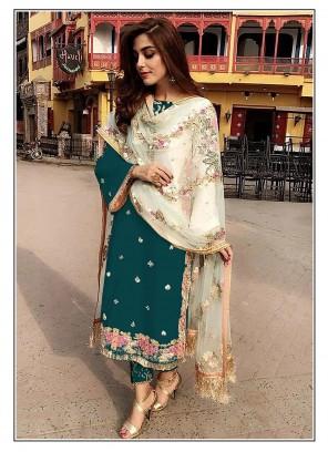 Rama Faux Georgette Festival Designer Straight Salwar Suit