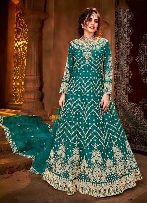 Rama Embroidered Net Floor Length Anarkali Suit