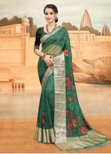 Rama Organza Printed Saree