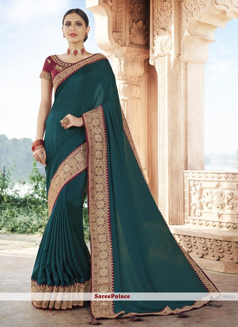 Rama Patch Border Silk Traditional Designer Saree