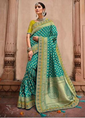 Rama Color Resham Work Banarasi Silk Saree