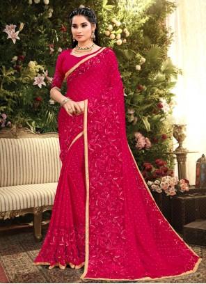 Rangoli Pink Embroidered Designer Saree