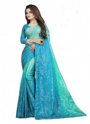 Rangoli Sequins Blue and Green Contemporary Saree