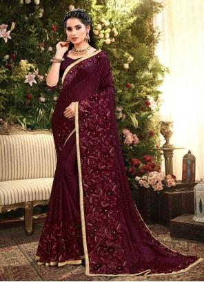 Rangoli Wine Bollywood Saree