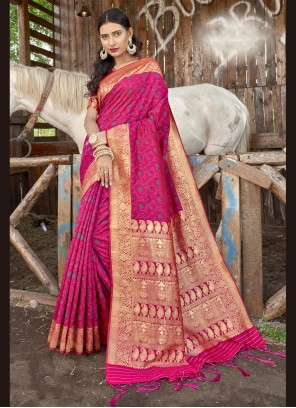 Rani Banarasi Silk Weaving Designer Traditional Saree