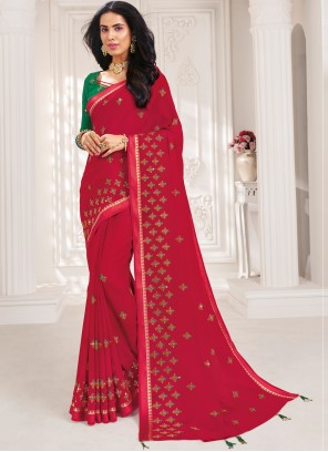Rani Embroidered Faux Chiffon Trendy Saree