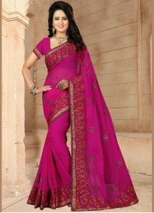 Rani Embroidered Faux Georgette Classic Saree